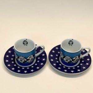 2 KONITZ Cow Demitasse Espresso Cup & Saucer Blue